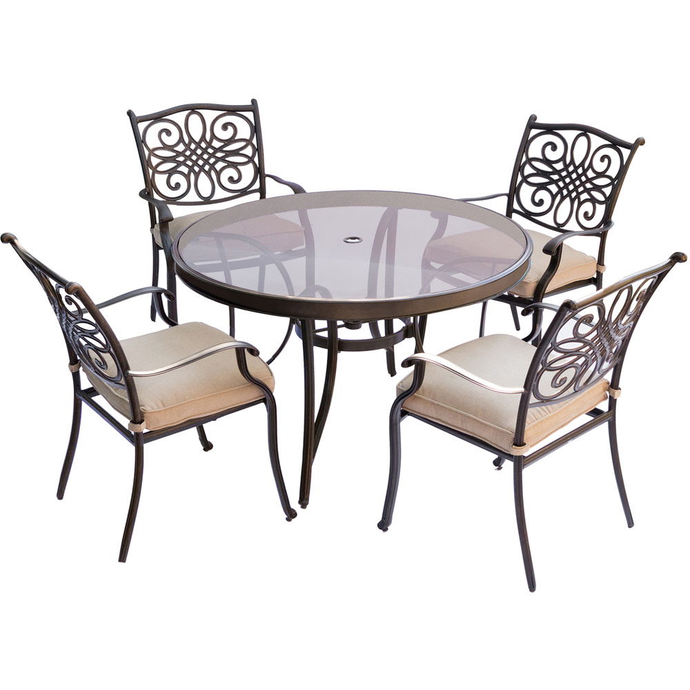 "Traditions5pc: 4 Dining Chairs, 48"" Round Glass Top Table"