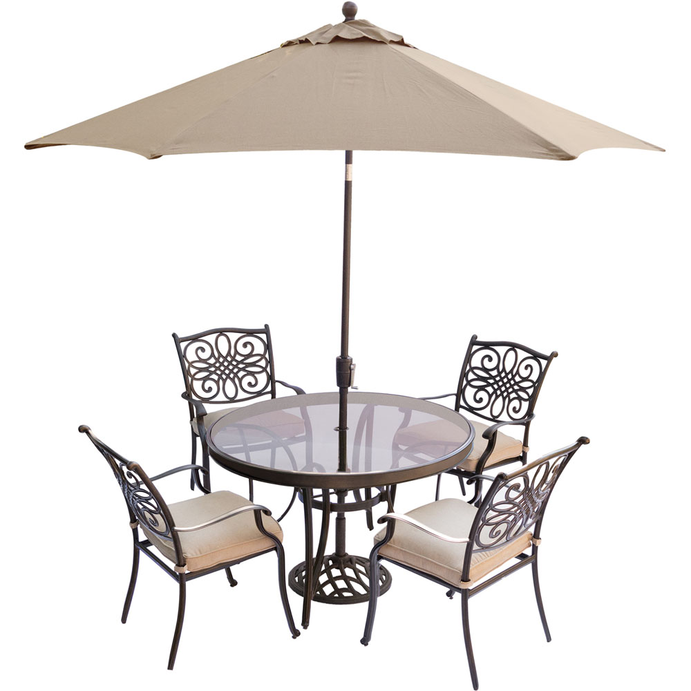 """Traditions5pc: 4 Dining Chairs, 48"""" Round Glass Top Table, Umb, Base"""