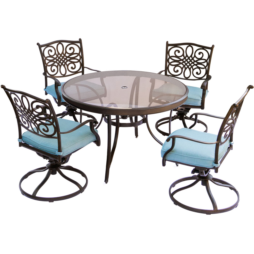 "Traditions5pc: 4 Swivel Rockers, 48"" Round Glass Top Table"