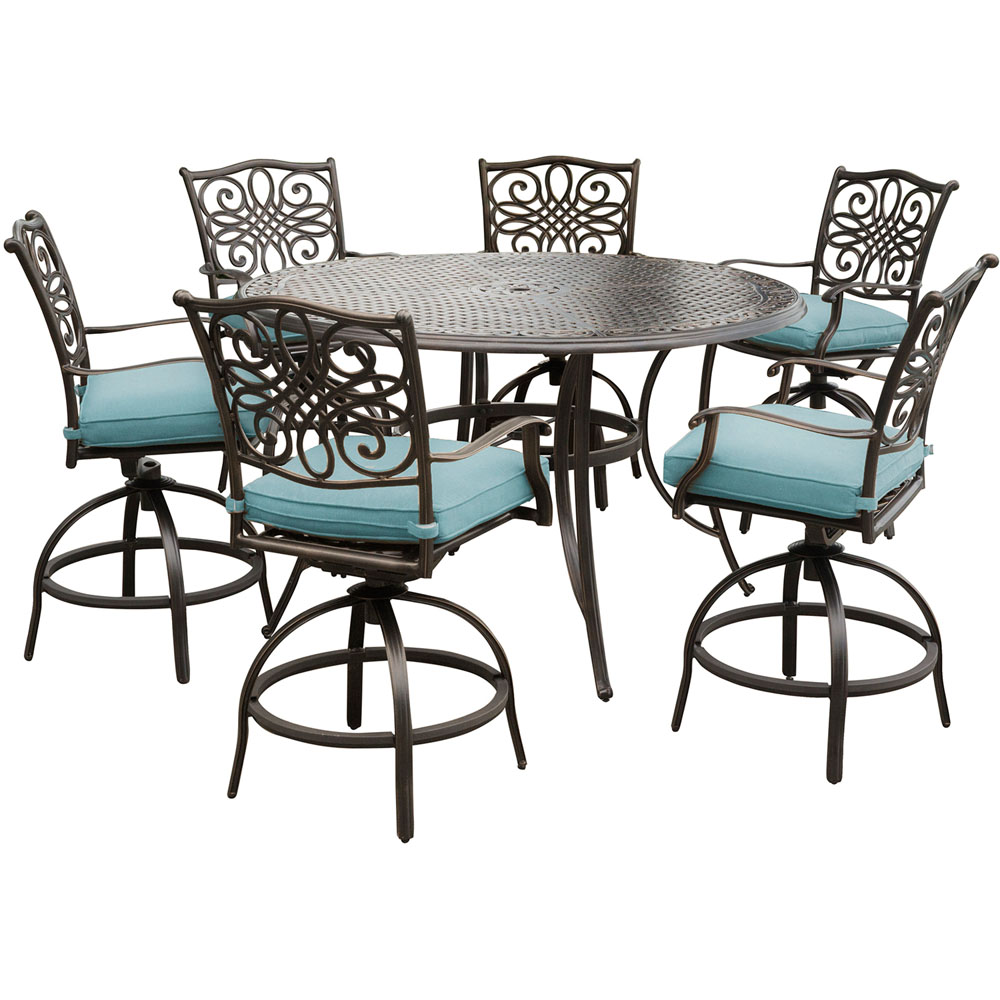 """Traditions 7PC High Dining:6 Swvl Bar Chrs (Blue),56"""" Round Cast Bar Tbl"""