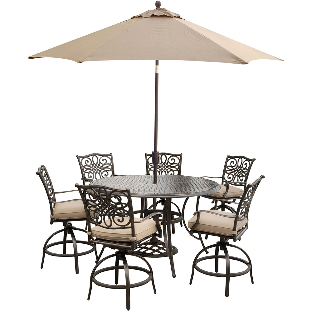 """Traditions 7PC High Dining:6 Swvl Bar Chrs ,56"""" Round Bar Tbl, Umb,Stand"""