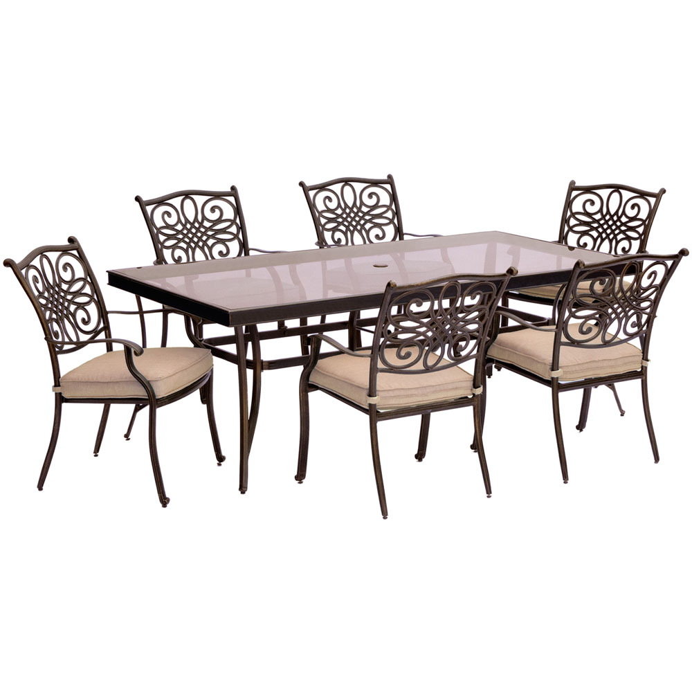 """Traditions7pc: 6 Dining Chairs, 42x84"""" Glass Top Table"""