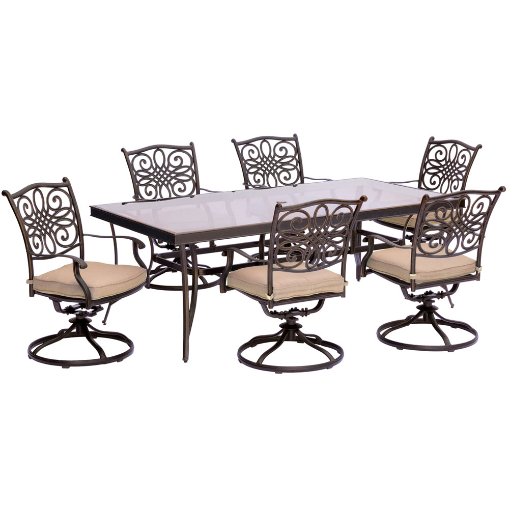 "Traditions7pc: 6 Swivel Rockers, 42x84"" Glass Top Table"