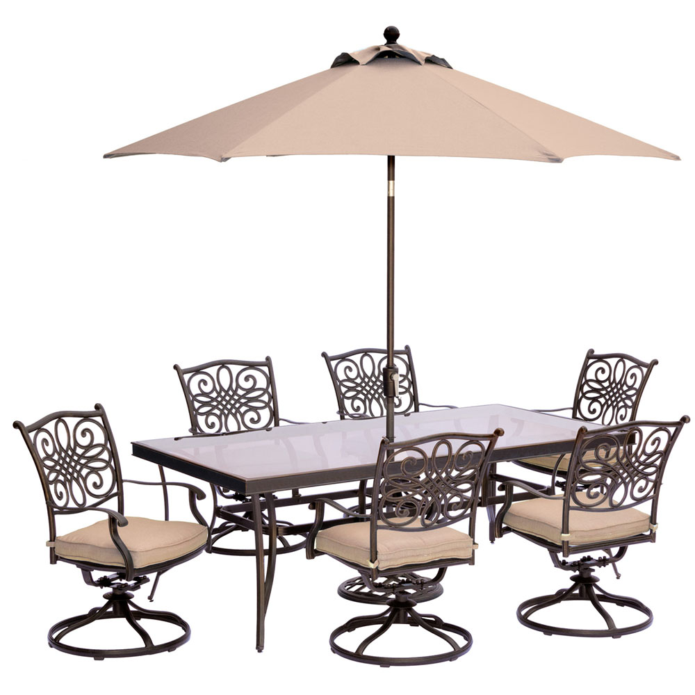 "Traditions7pc: 6 Swivel Rockers, 42x84"" Glass Top Table, Umbrella, Base"