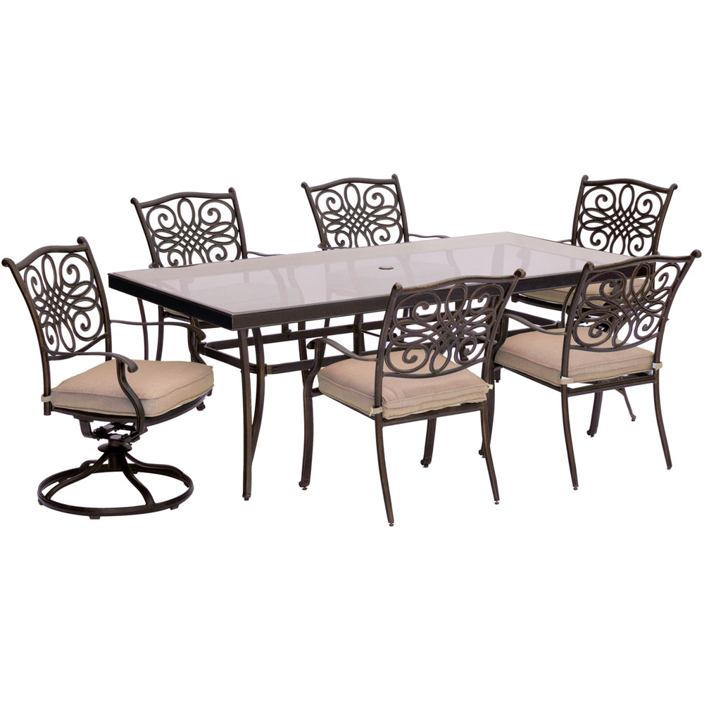 "Traditions7pc: 4 Dining Chairs, 2 Swivel Rockers, 42x84"" Glass Top Table"