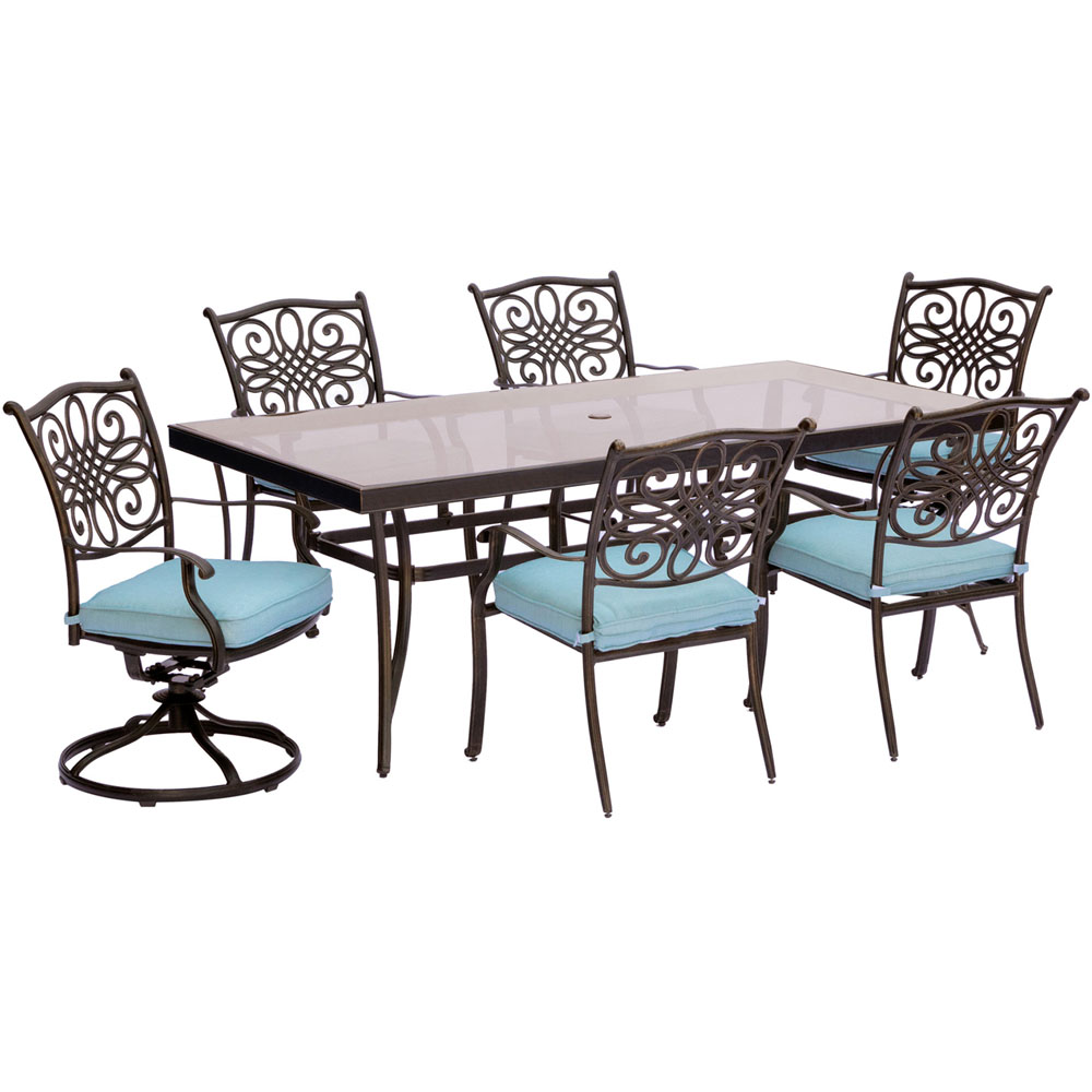 """Traditions7pc: 4 Dining Chairs, 2 Swivel Rockers, 42x84"""" Glass Top Table"""