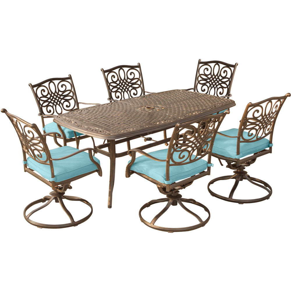 "Traditions7pc: 6 Swivel Rockers, 38x72"" Cast Table"