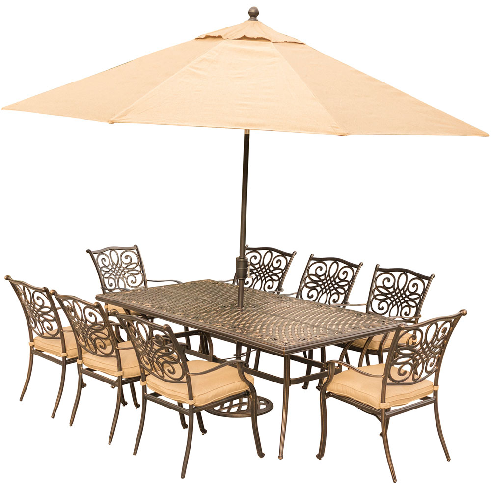 """Traditions9pc: 8 Dining Chairs, 42x84"""" Cast Table, Umbrella, Base"""