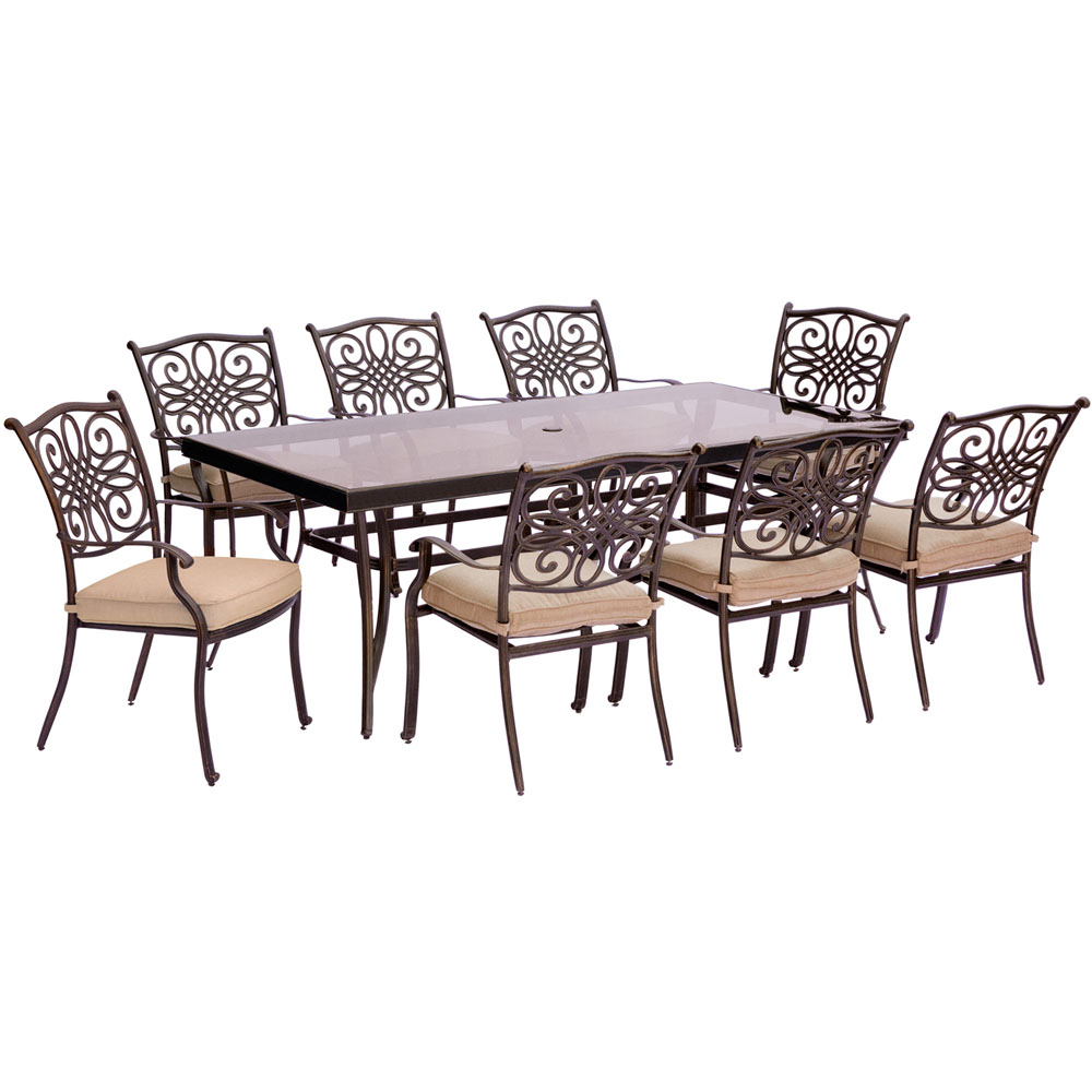 "Traditions9pc: 8 Dining Chairs, 42x84"" Glass Top Table"