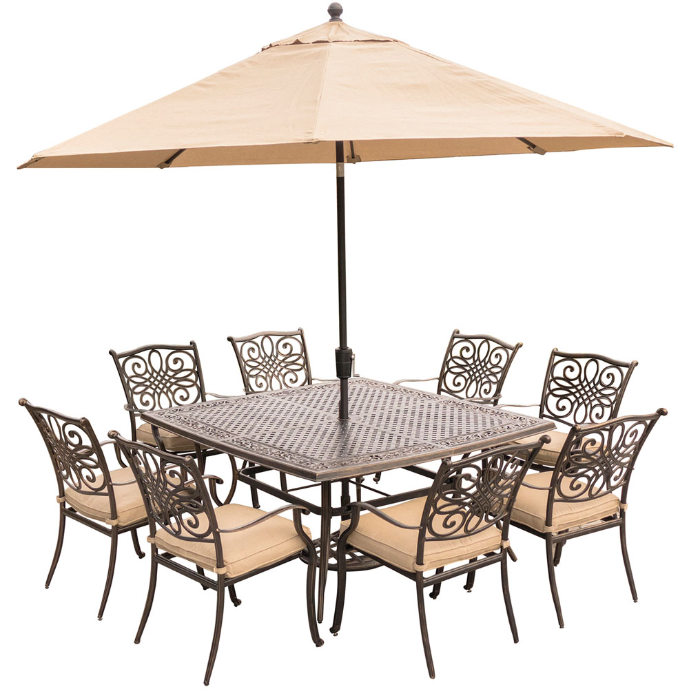 "Traditions9pc: 8 Dining Chairs, 60"" Square Cast Table, Umbrella, Base"