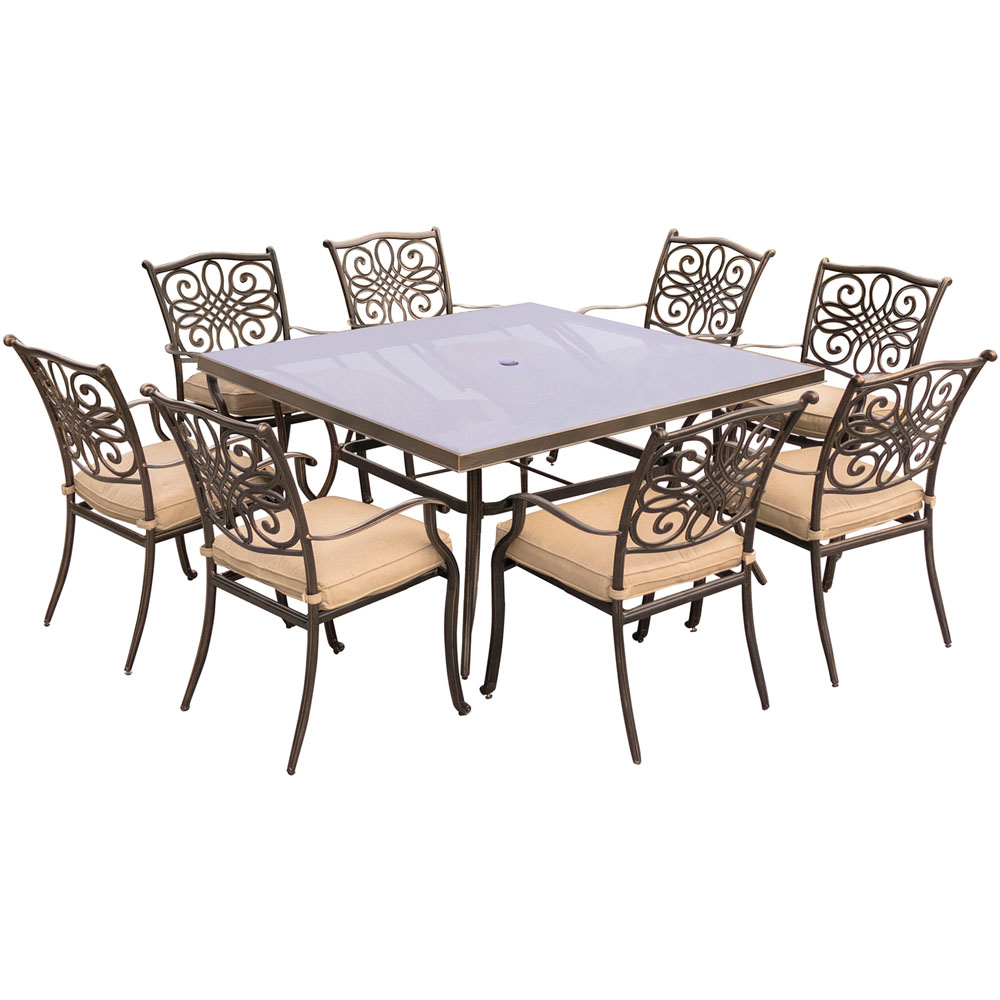 "Traditions9pc: 8 Dining Chairs, 60"" Square Glass Top Table"