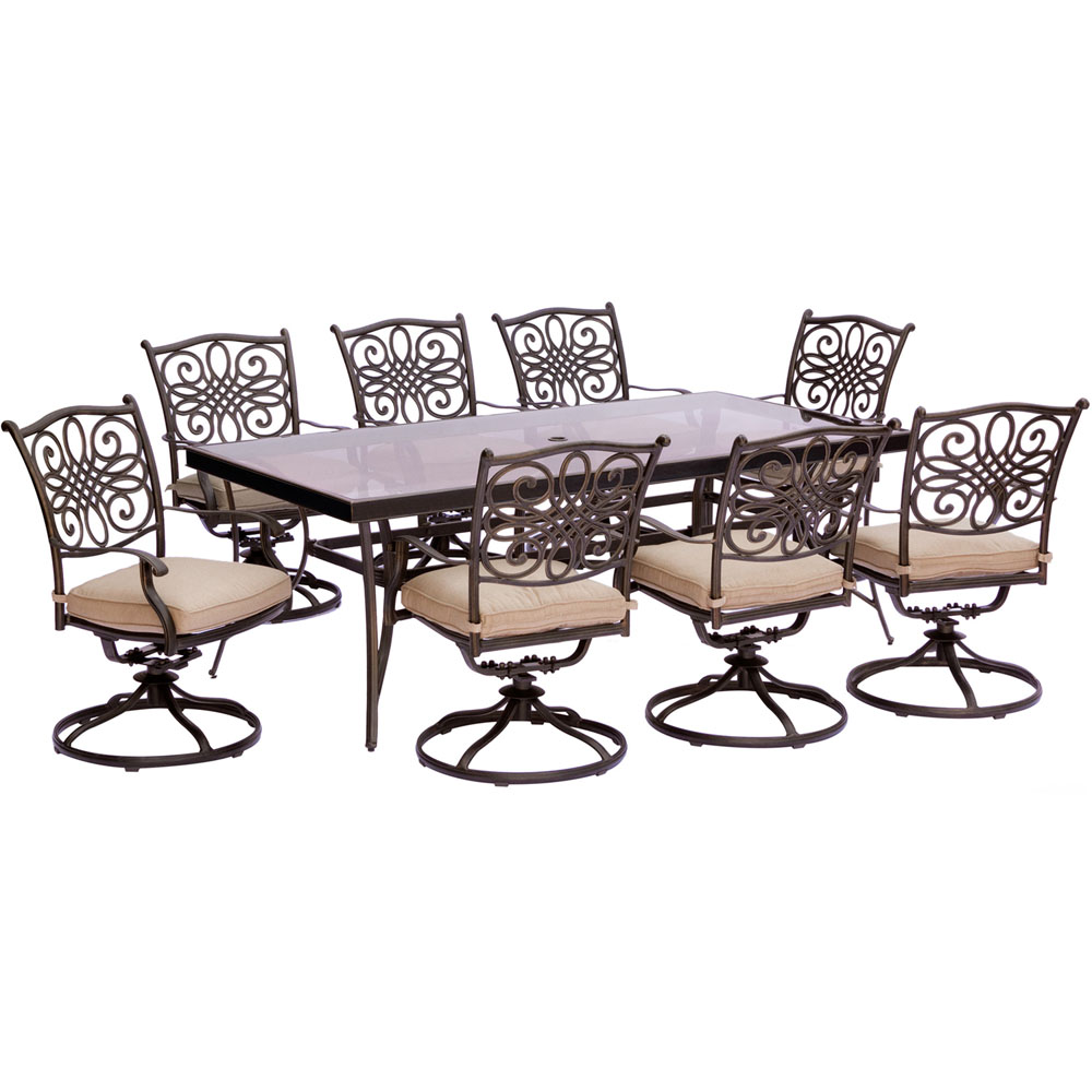 "Traditions9pc: 8 Swivel Rockers, 42x84"" Glass Top Table"