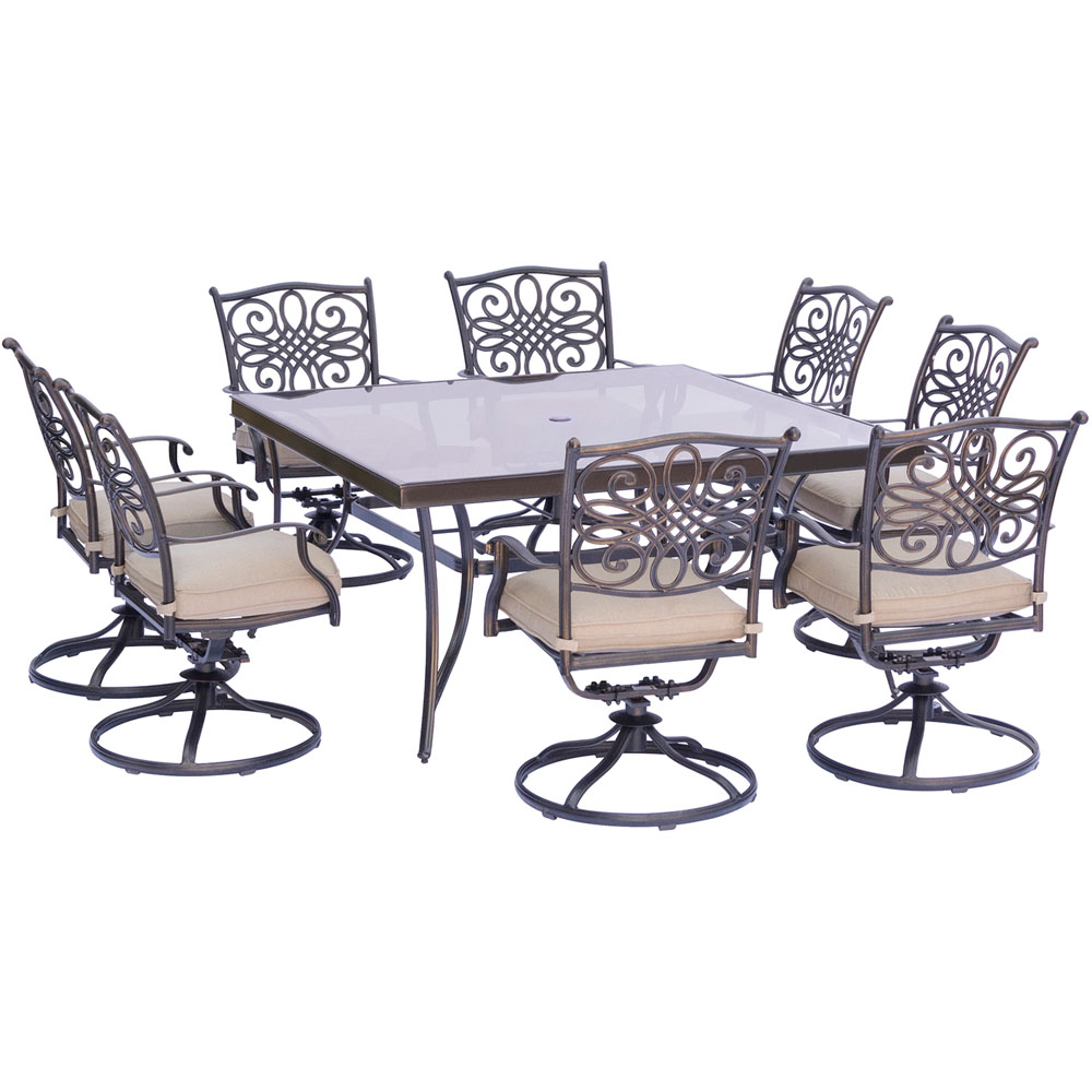 "Traditions9pc: 8 Swivel Rockers, 60"" Square Glass Top Table"