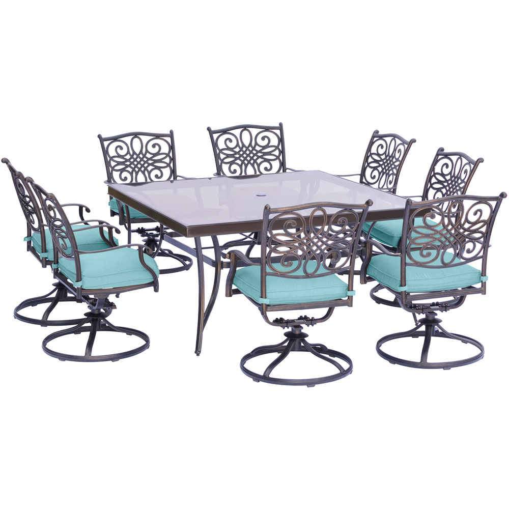 """Traditions9pc: 8 Swivel Rockers, 60"""" Square Glass Top Table"""