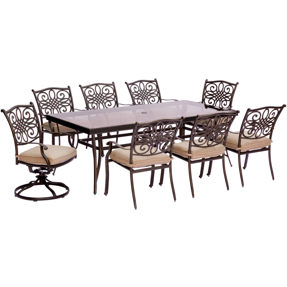 """Traditions9pc: 6 Dining Chairs, 2 Swivel Rockers, 42x84"""" Glass Top Table"""