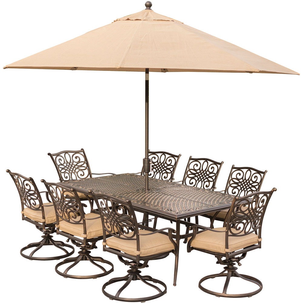 "Traditions9pc: 8 Swivel Rockers, 42x84"" Cast Table, Umbrella, Base"