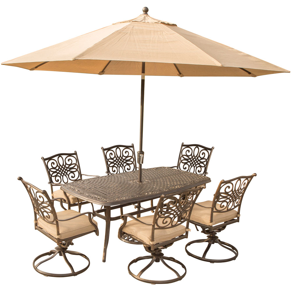 "Traditions7pc: 6 Swivel Rockers, 38x72"" Cast Table, Umbrella, Base"