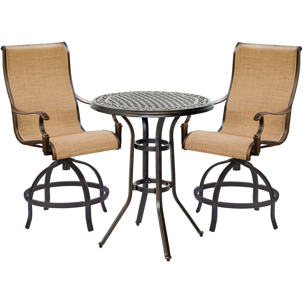 """Manor3pc: 2 Sling Counter Height Swvl Chairs, 30"""" Rnd Cast Table (36""""H)"""