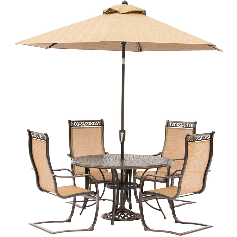 """Manor5pc: 4 Sling Spring Chairs, 48"""" Round Cast Table, Umbrella, Base"""