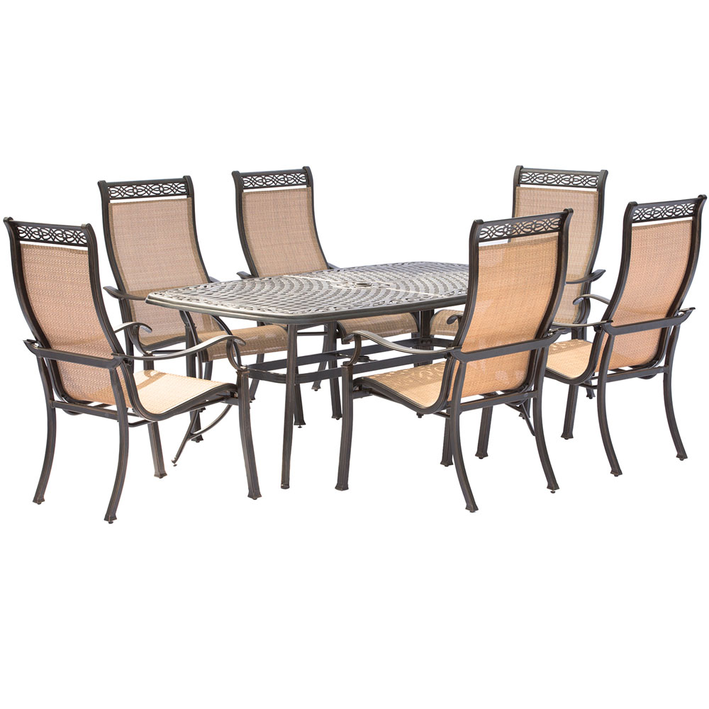 """Manor7pc: 6 Sling Dining Chairs, 38x72"""" Cast Table"""