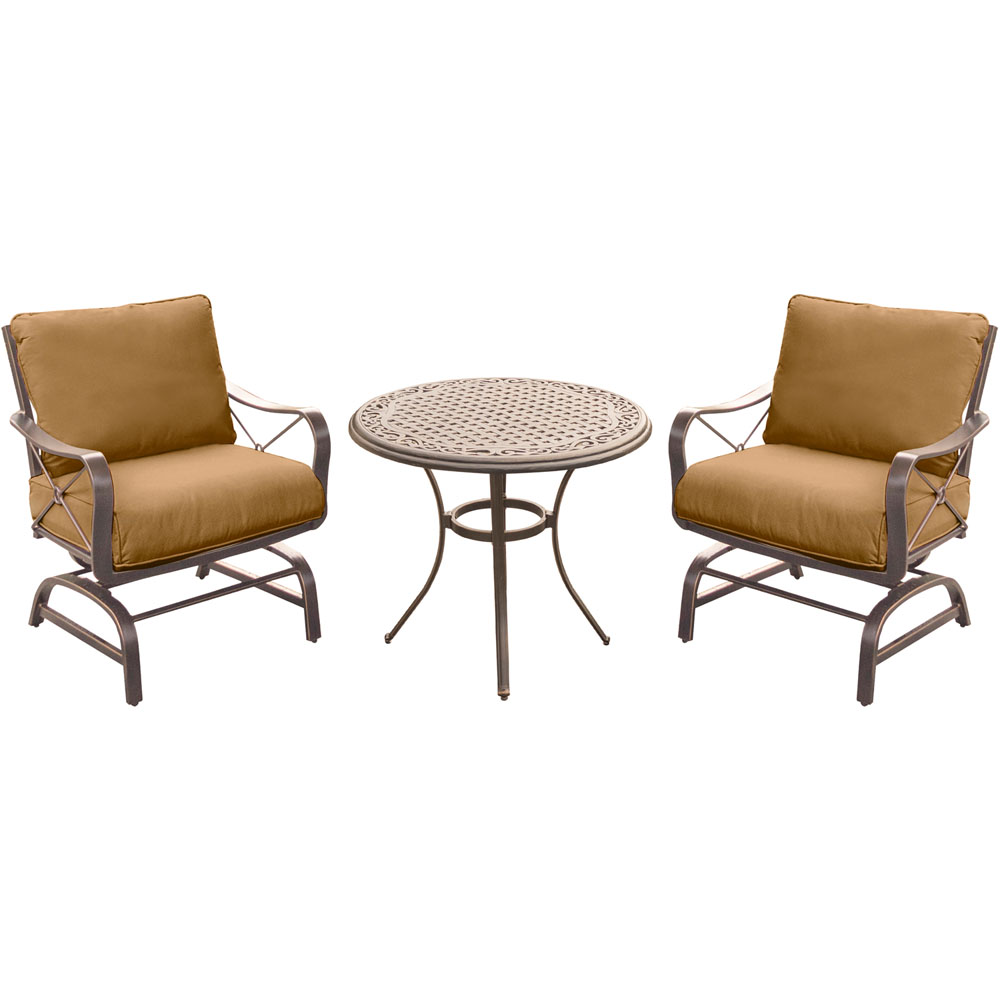 "Summer Nights 3PC Dining Set: 2 Steel Rockers with 30"" Cast Table"