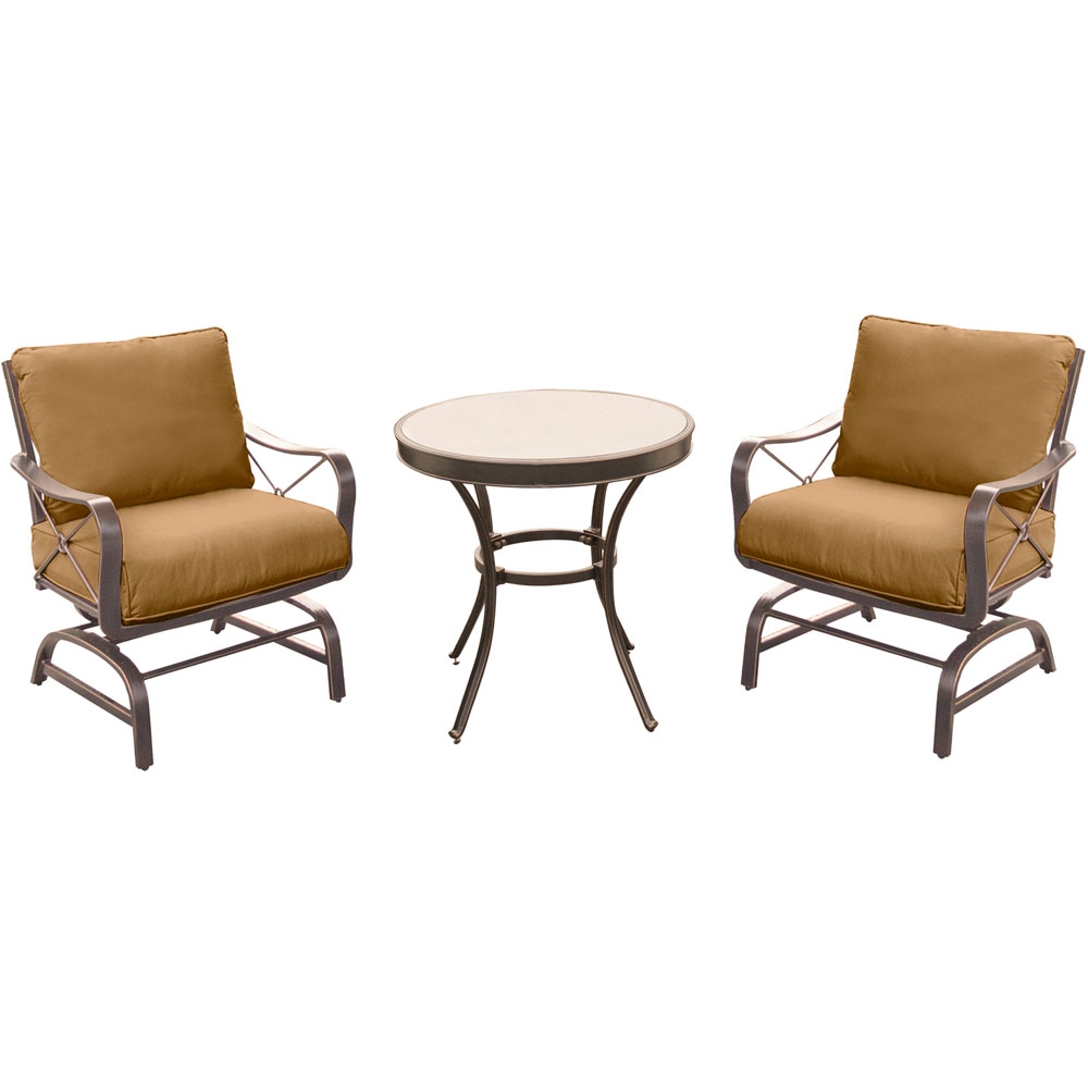 "Summer Nights 3PC Dining Set: 2 Aluminum Rockers with 30"" Glass Table"