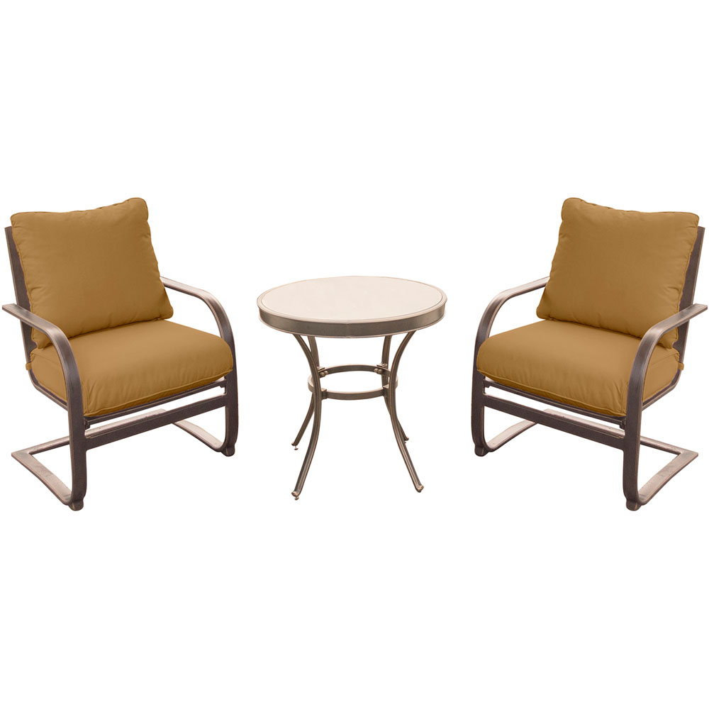 """Summer Nights 3PC Dining Set: 2 Aluminum Spring Chrs with 30"""" Glass Tbl"""