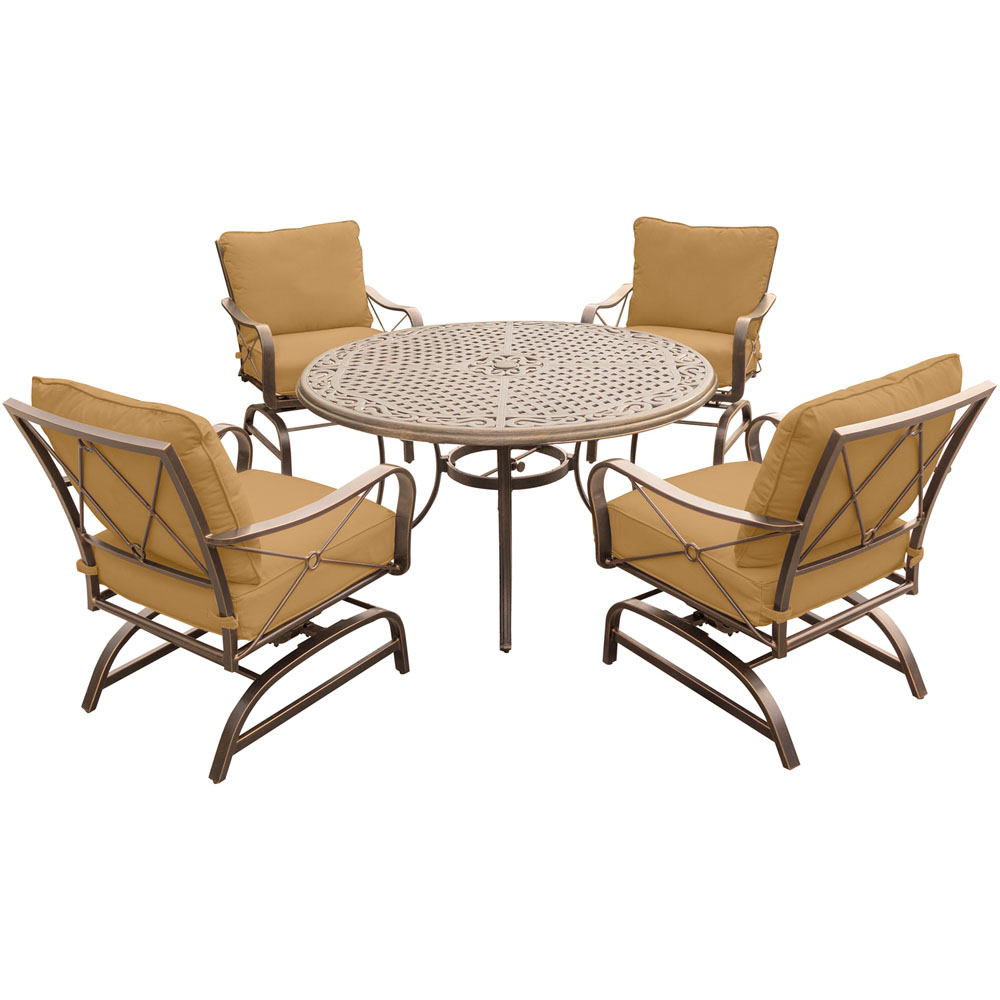 "Summer Nights 5PC Dining Set: 4 Steel Rockers with 48"" Cast Table"