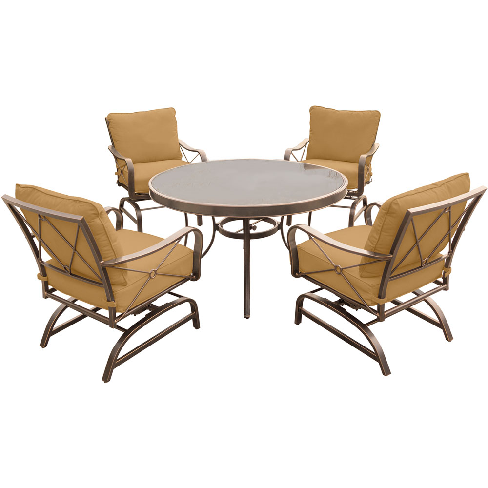 "Summer Nights 5PC Dining Set: 4 Steel Rockers with 48"" Glass Table"