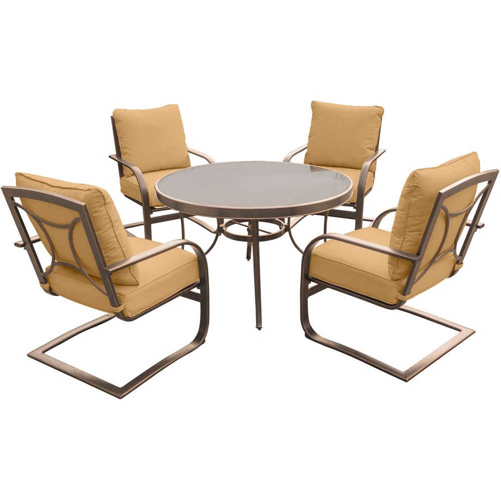 "Summer Nights 5PC Dining Set: 4 Aluminum Spring Chrs with 48"" Glass Tbl"