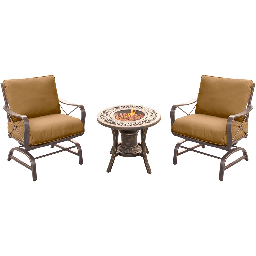 Summer Nights 3PC Seating Set: 2 Aluminum Rockers with Cast Fire Urn