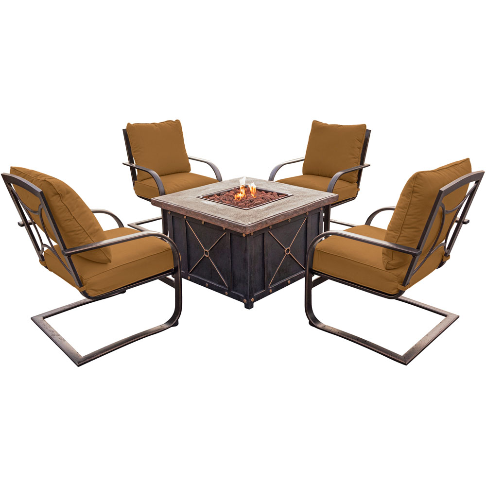 Summer Night 5pc Fire Pit Set: 4 Spring Chairs and Durastone Fire Pit