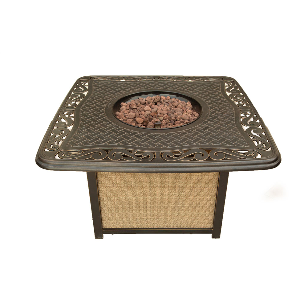 Hanover Traditions Cast Top Gas Fire Pit, Lava Rocks