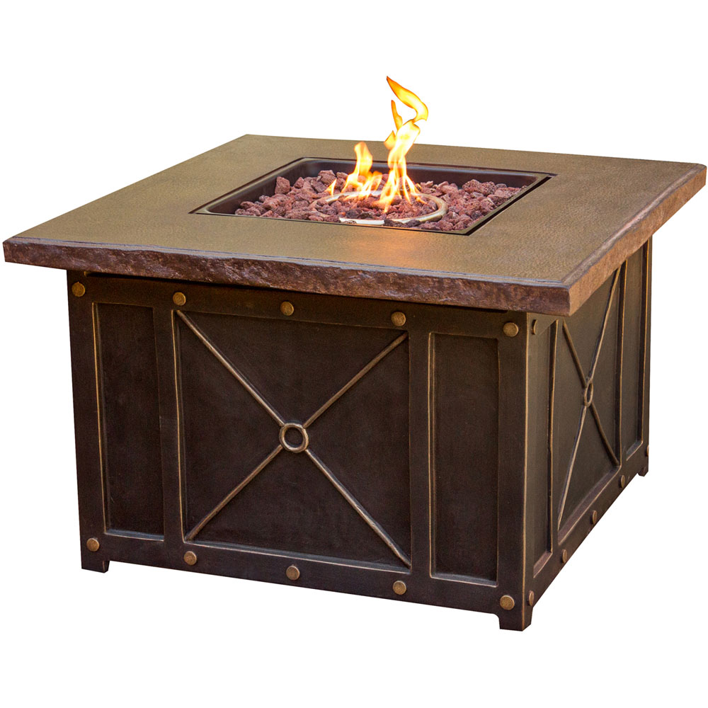 "Hanover Summer Night 40"" Gas Fire Pit with Durastone Top, Lava Rocks"