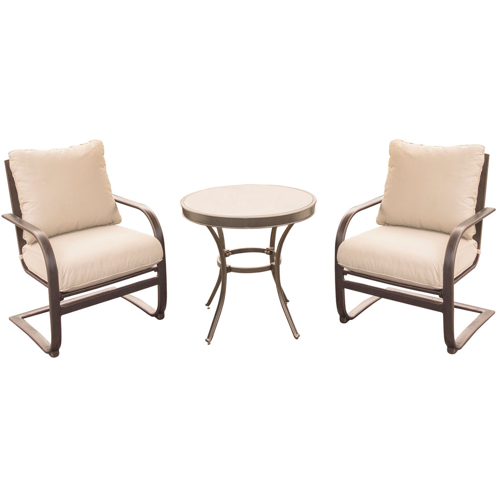 "Summer Nights 3PC Dining Set: 2 Aluminum Spring Chrs with 30"" Glass Tbl"
