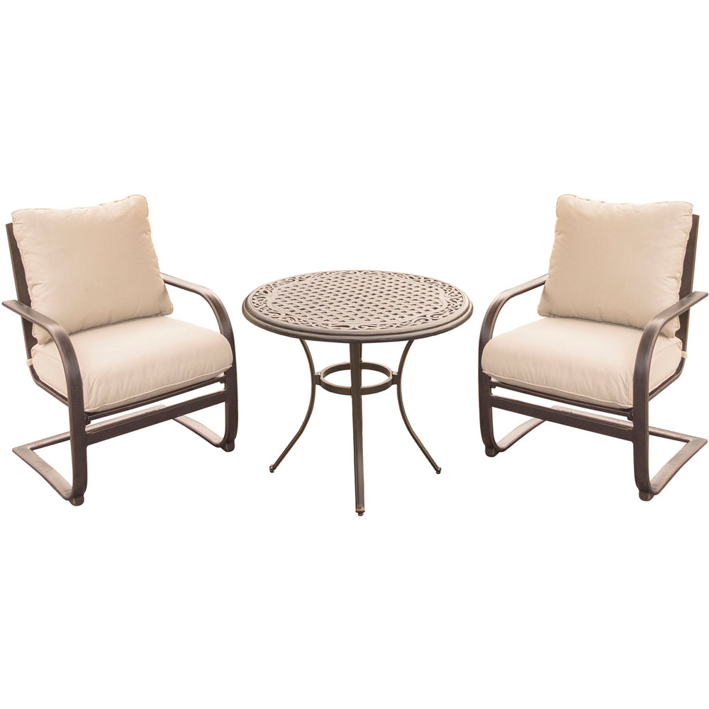 "Summer Nights 3PC Dining Set: 2 Aluminum Spring Chrs with 30"" Cast Table"