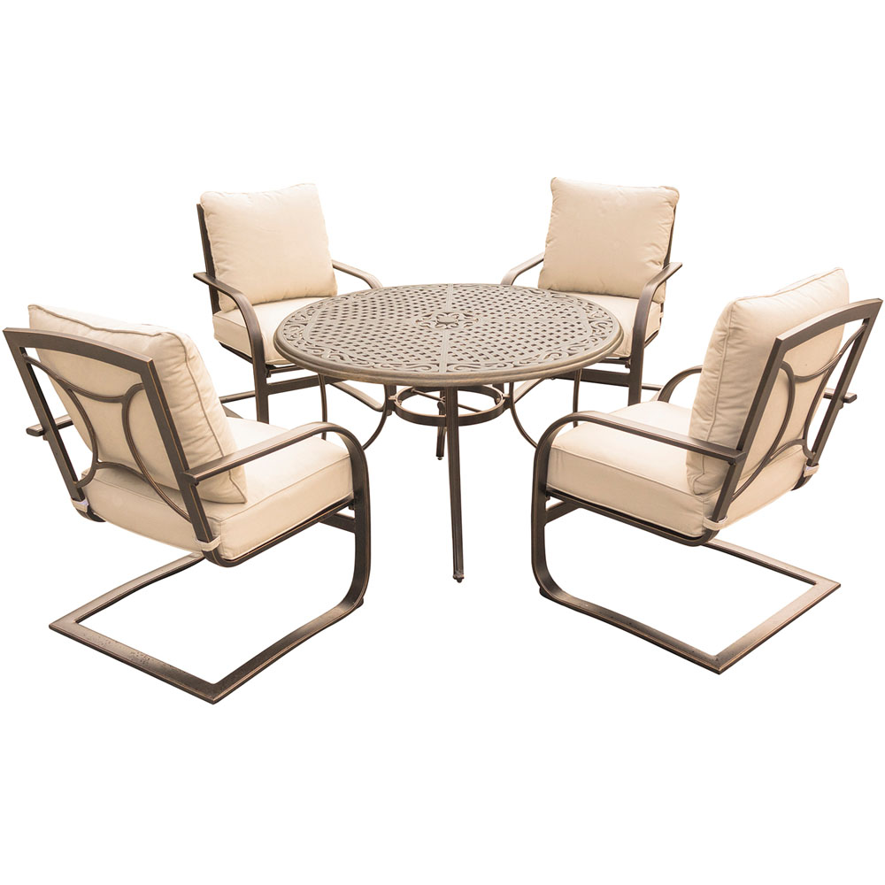 "Summer Nights 5PC Dining Set: 4 Aluminum Spring Chrs with 48"" Cast Table"