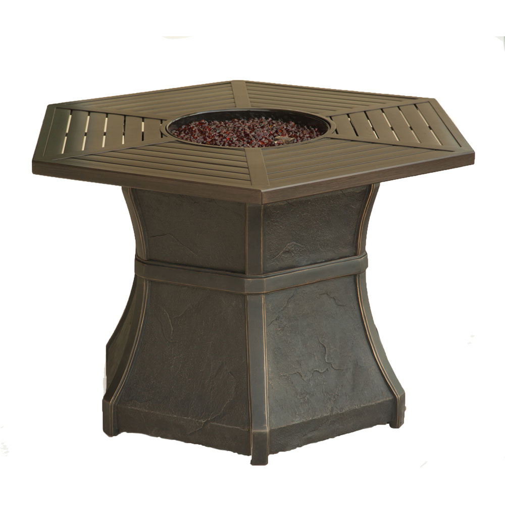 Hanover Hexagonal High Top Gas Fire Pit, Aluminum Top, Glass Beads