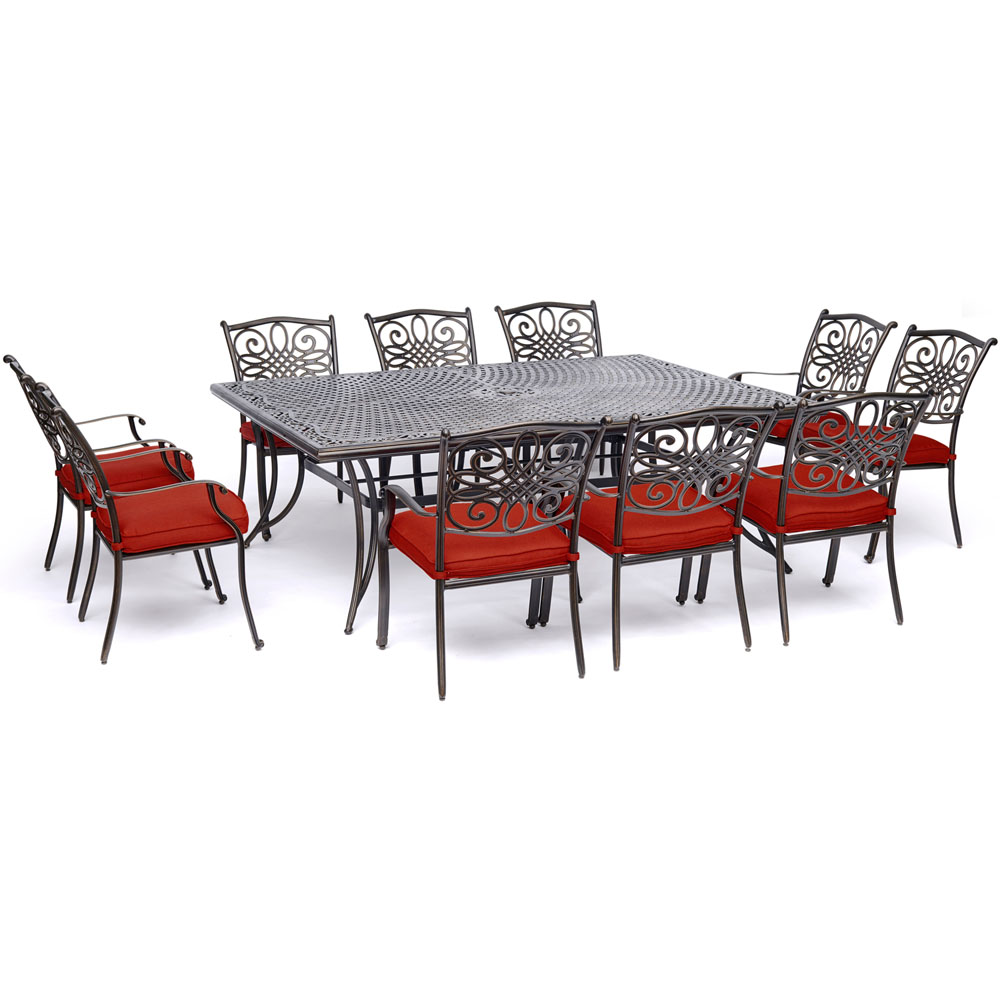 """11pc Dining Set: 10 Dining Chairs, 60x84"""" Cast Table"""