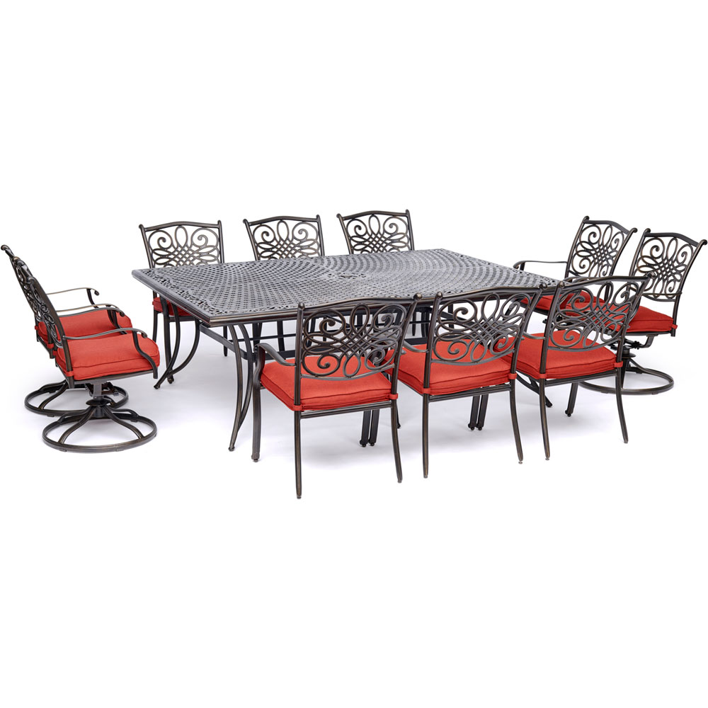 """11pc Dining Set: 6 Dining Chairs, 4 Swivel Rockers, 60x84"""" Cast Table"""