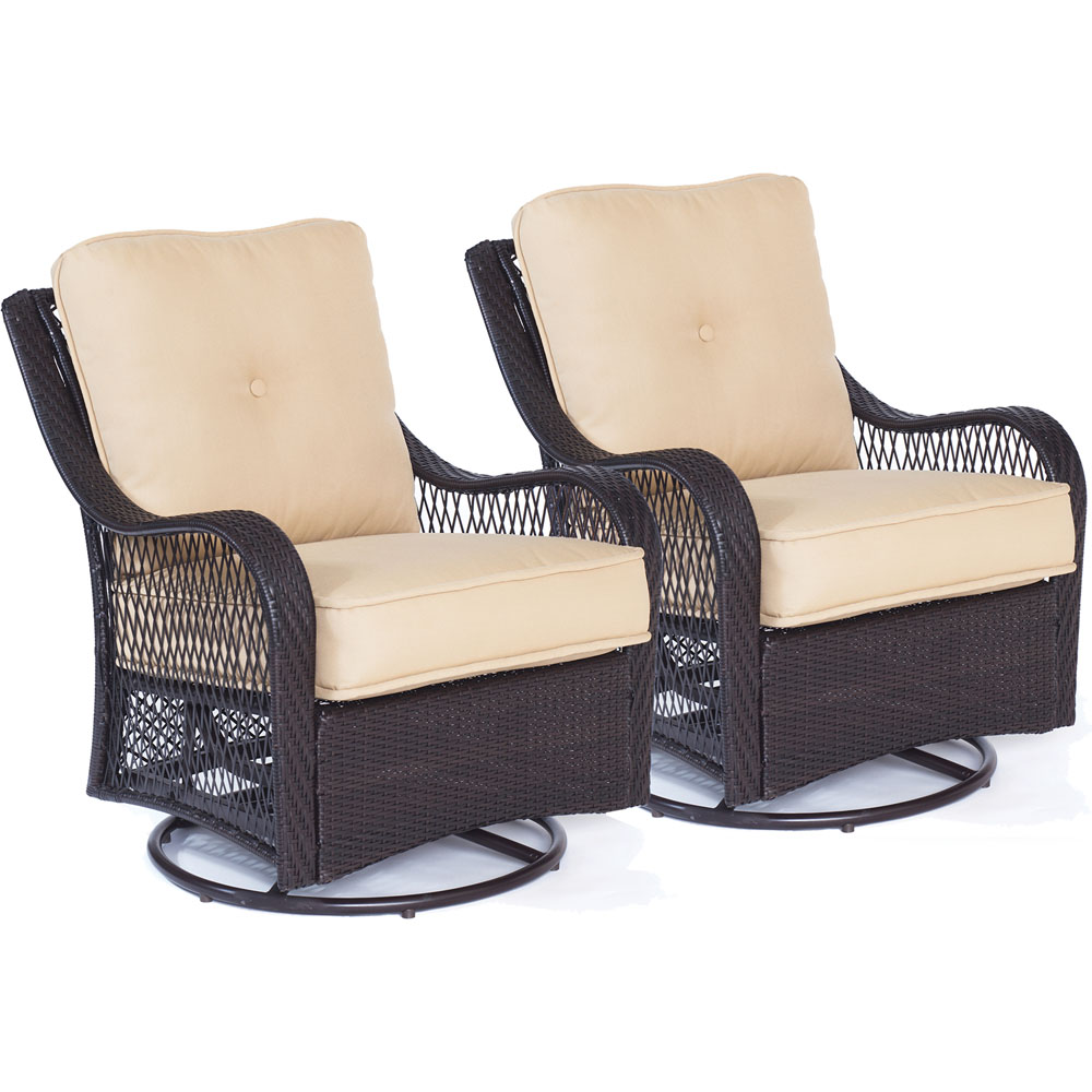 Orleans 2pc Seating Set:2 Woven/Cushioned Swivel Gliders