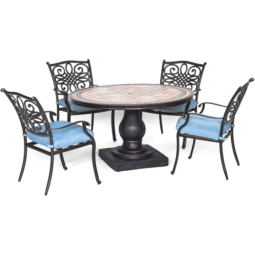 "Monaco5pc: 4 Cush Dining Chairs, 51"" Round Tile Top Table"