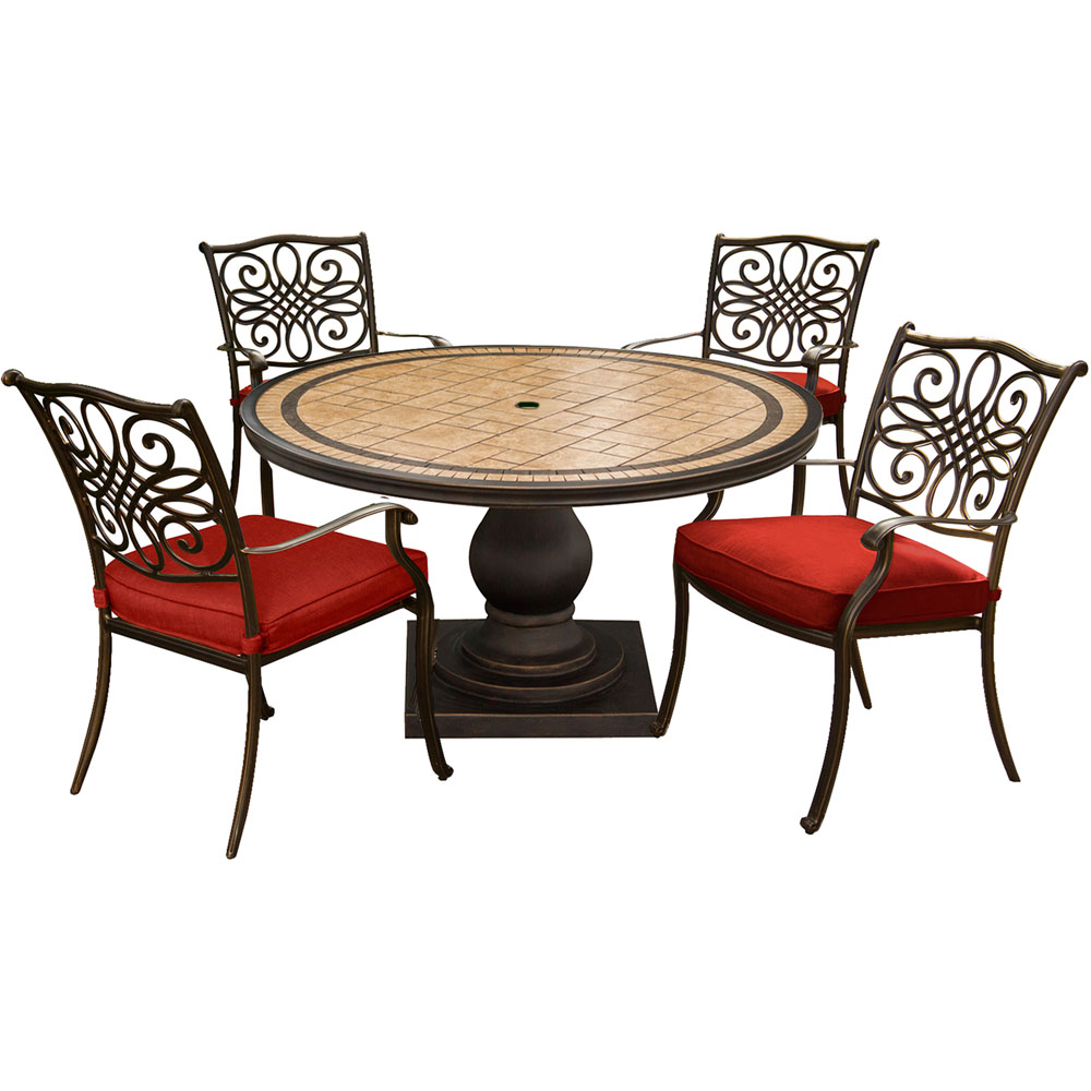 """Monaco5pc: 4 Cush Dining Chairs, 51"""" Round Tile Top Table"""