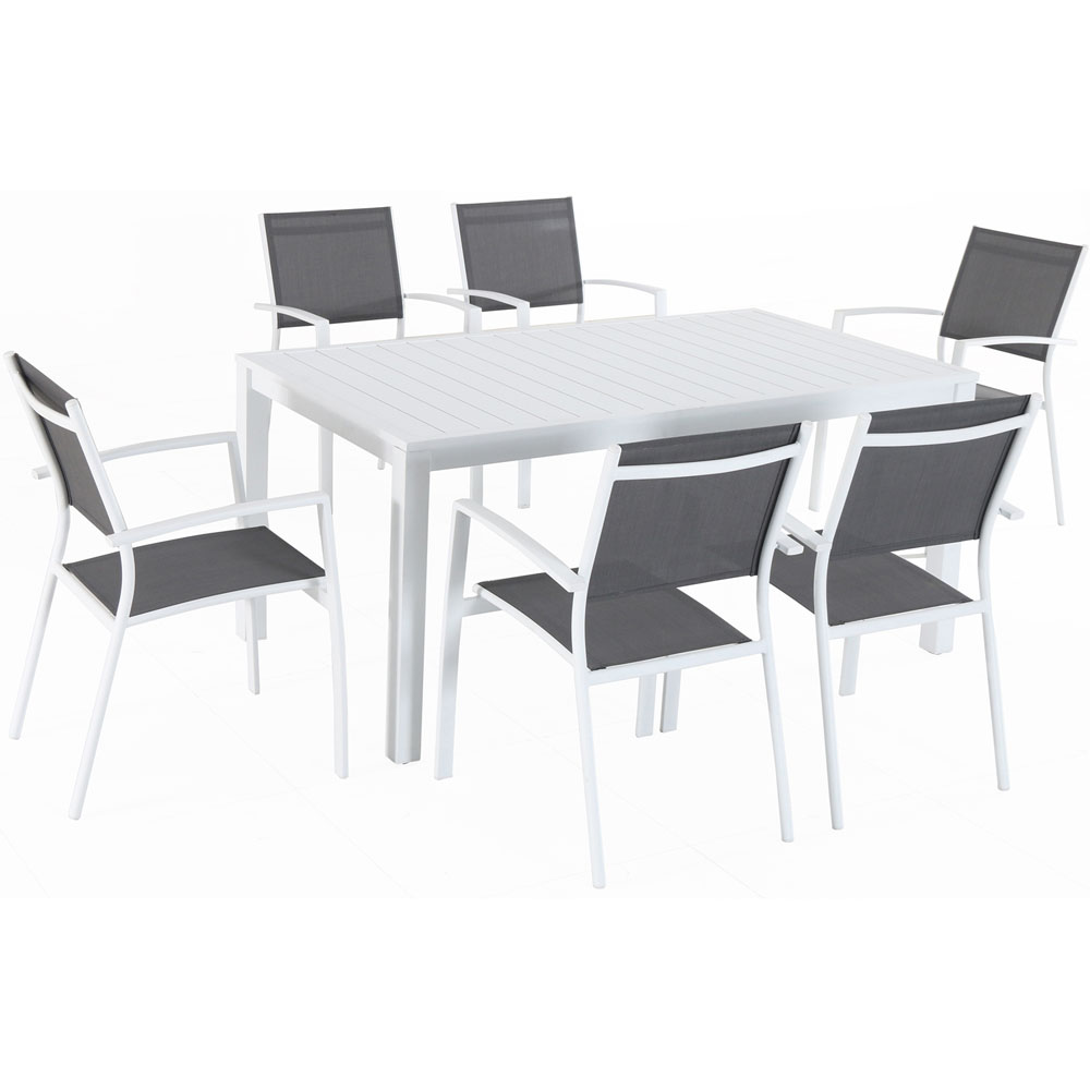 "Del Mar7pc: 6 Aluminum Sling Chairs, 63x35"" Aluminum Slat Table"