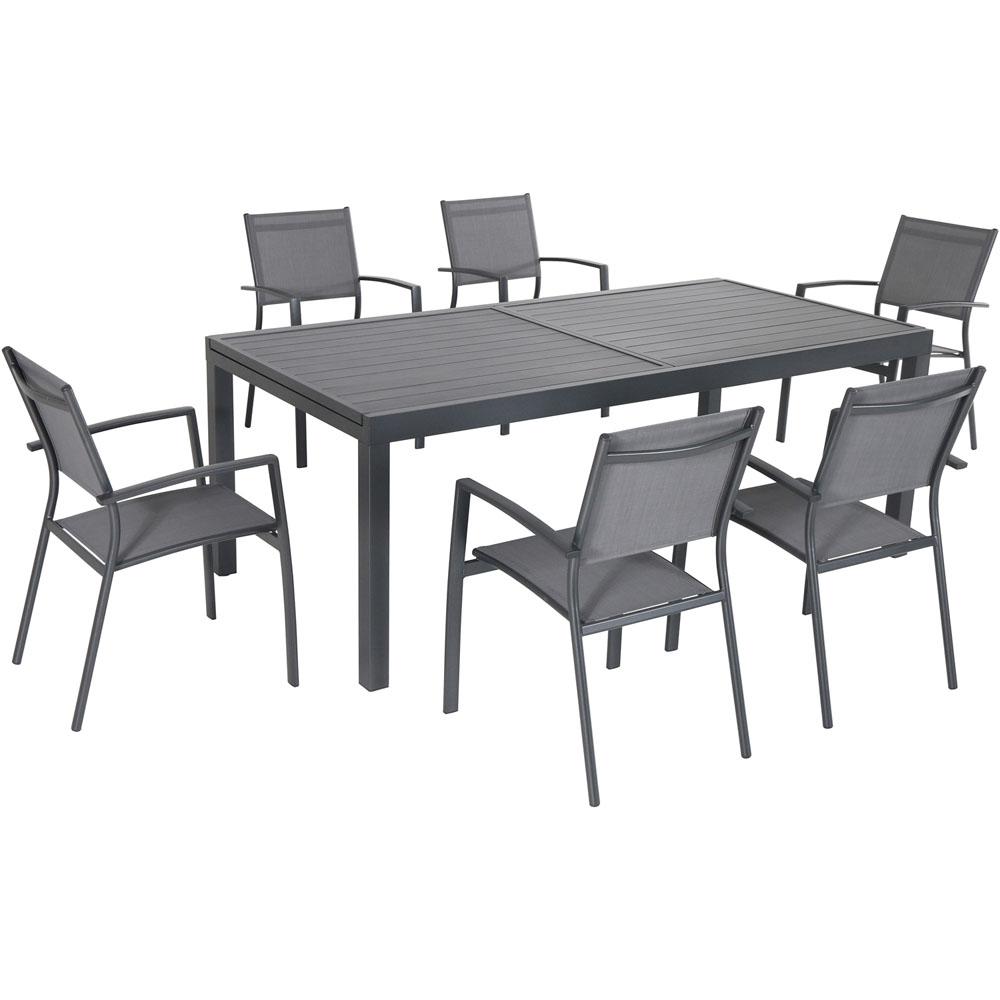 "Naples7pc: 6 Aluminum Sling Chairs, 63x35"" Aluminum Slat Table"