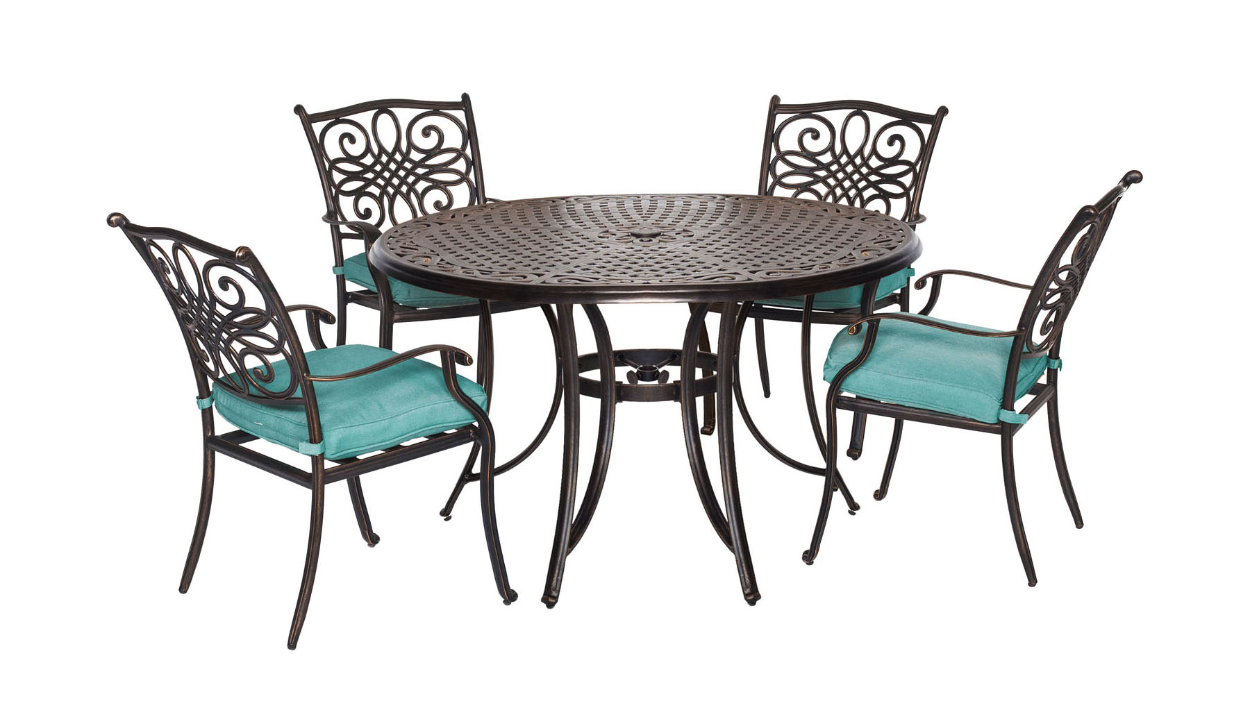"Traditions5pc: 4 Dining Chairs, 48"" Round Cast Table"
