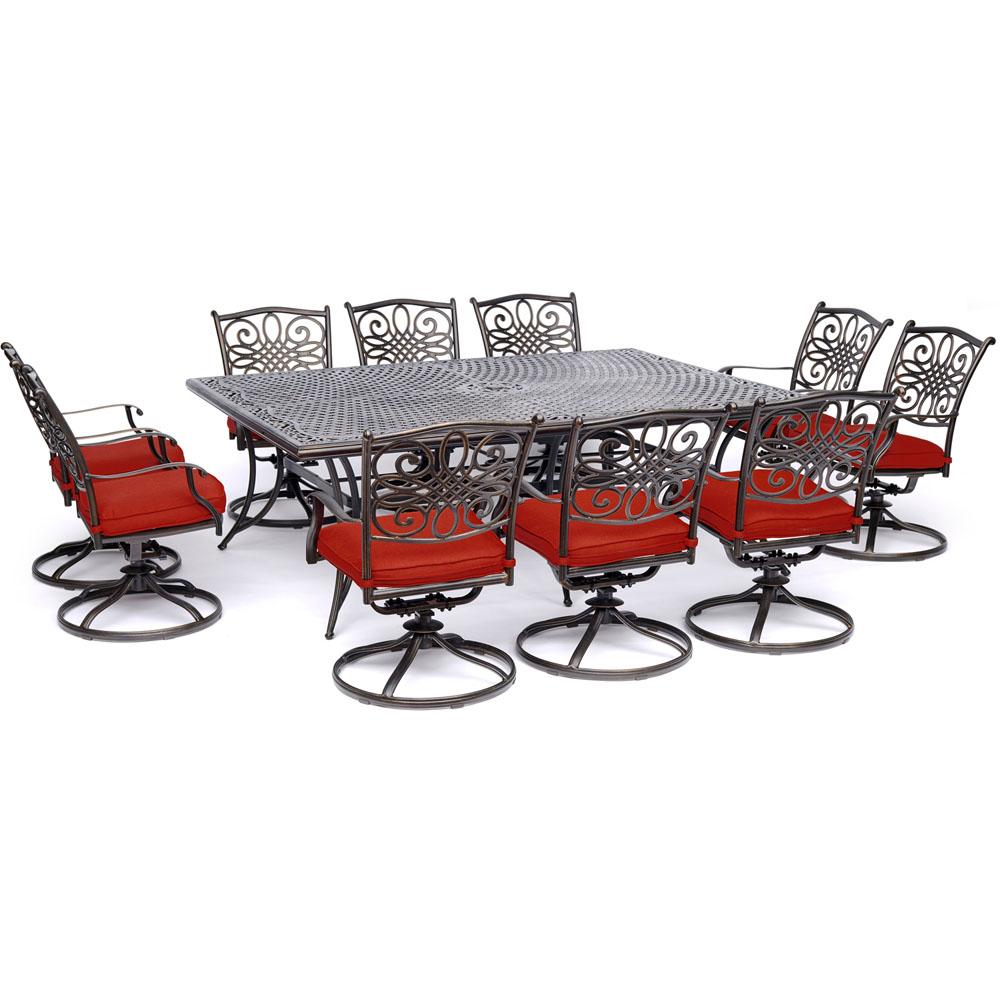 "11pc Dining Set: 10 Swivel Rockers, 60x84"" Cast Table"
