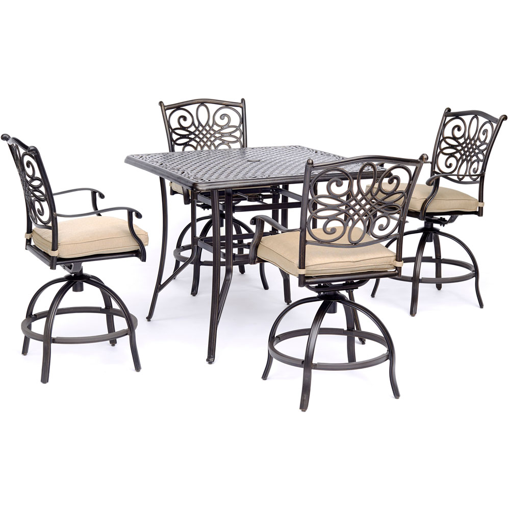 """5pc Counter Height Set: 4 Swivel Chairs, 42"""" Cast Table"""