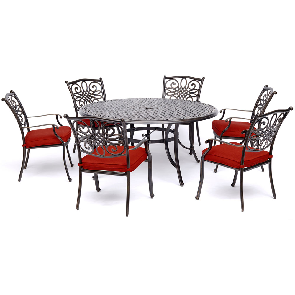 """7pc Dining Set: 6 Dining Chairs, 60"""" Round Cast Table"""