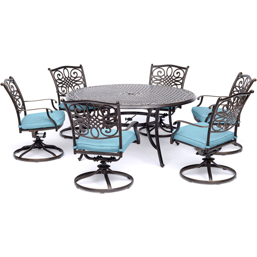 """7pc Dining Set: 6 Swivel Rockers, 60"""" Round Cast Table"""